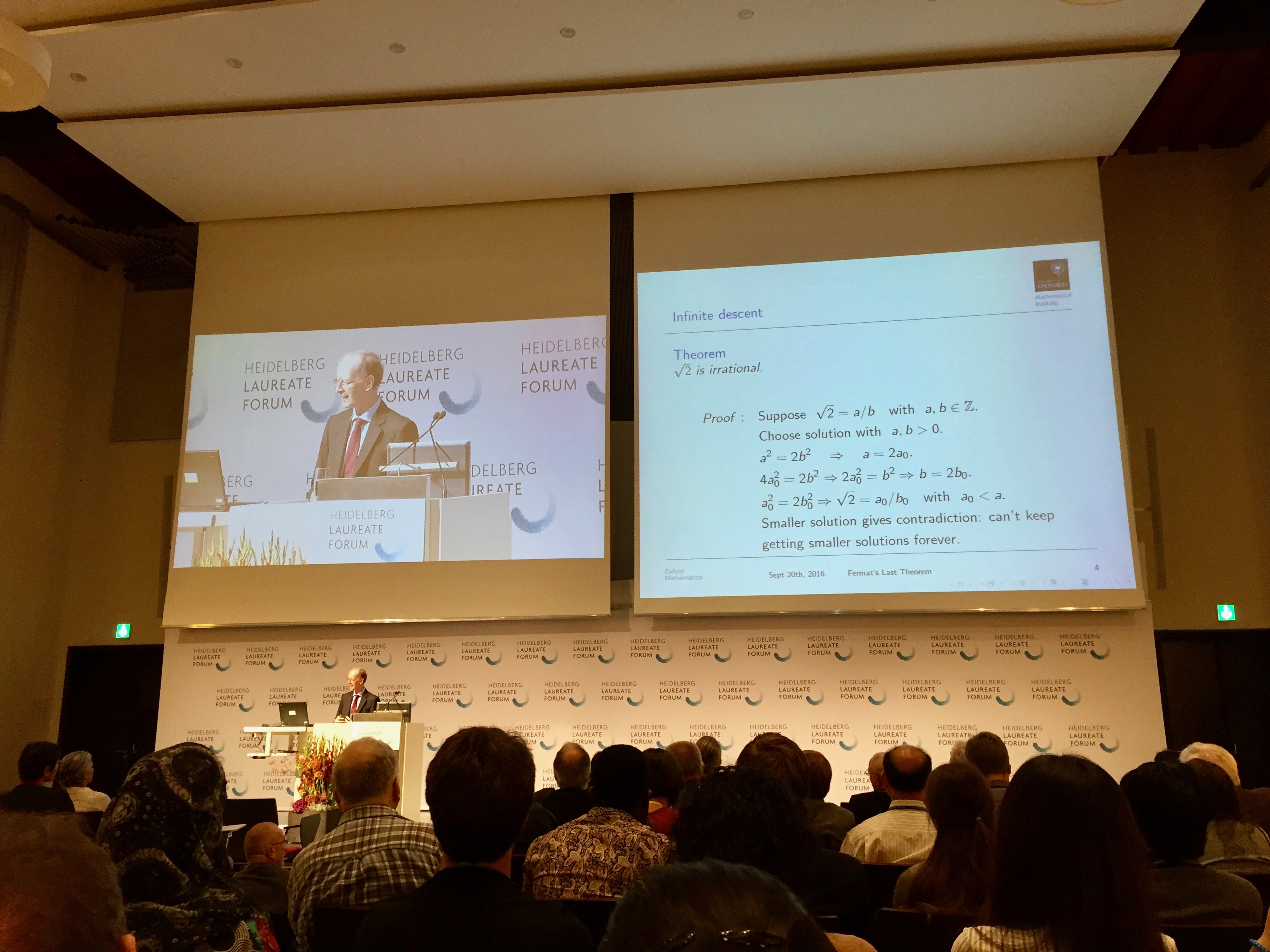 Sir Andrew Wiles' Lecture about Fermat's Last Theorem at the 4th HLF